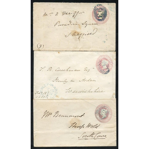 1793 - 1844-51 three 1d pink envelopes showing blue 1844 numeral postmarks - 382 of Howden, 93 of Borobridg...
