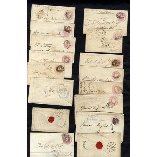1794 - 1844-59 1d pink envelopes (90) all are used with English or Scots numerals, a variety of back stamps...