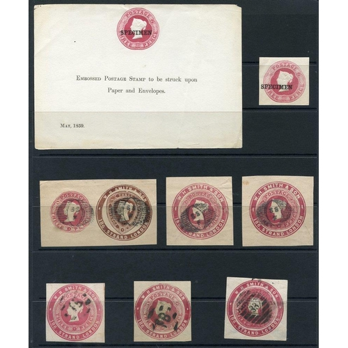 1796 - QV 3d dies selection of 28 x 3d dies incl. 1859 SPECIMEN sheet used in combination with a 1½d W.H.Sm...
