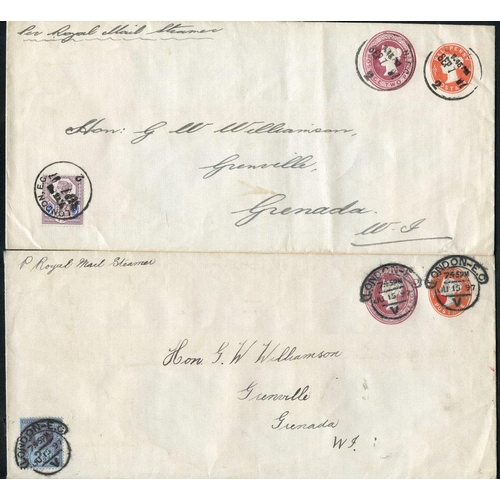 1797 - 1897 QV ½d + 2d compound envelopes (2) from London to Grenada, West Indies, one uprated with 2½d Jub...