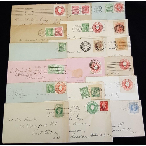 1799 - 1905-38 selection of 24 envelopes bearing stationery cut-outs comprising QV (6), KEVII (7), KGV (5),...