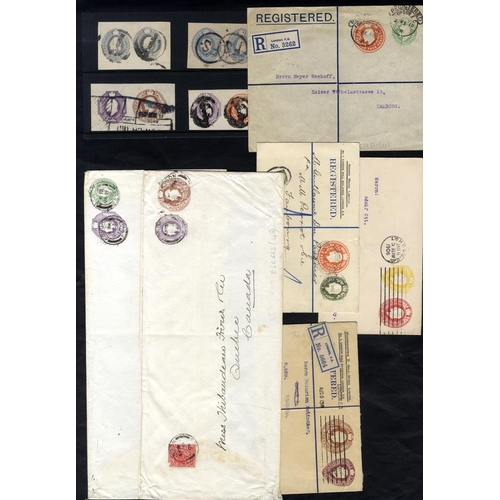 1801 - 1906-13 KEVII used double compound envelope plus 4 cut-outs incl. ESC662 (£40), ESC682 (XXXX) - very...
