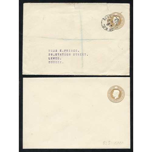 1805 - 1942 KGVI 5½d brown envelopes, fine M, RS3 (XXXX) - very few known, another used Norwood 1942 regist...