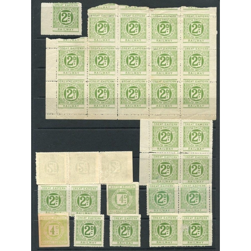 1807 - RAILWAY LETTER STAMPS selection of 186 mainly unused or M, various companies - Great Eastern, North ...