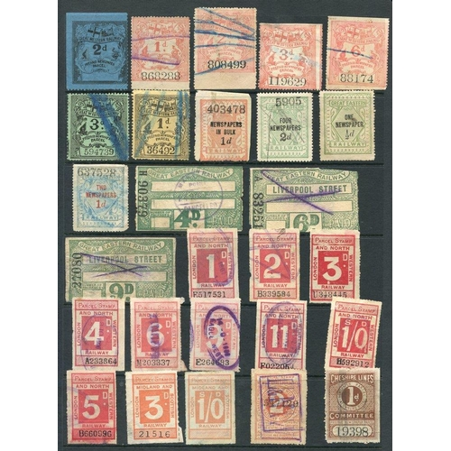 1808 - RAILWAY PARCEL STAMPS selection of 124 different from various companies, decent condition for these....