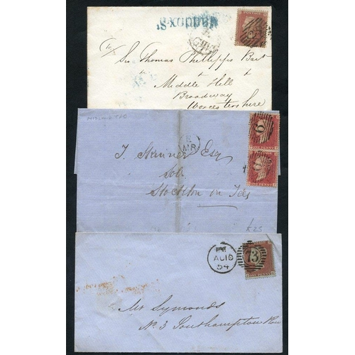 1810 - 1854-78 six covers bearing strike of 'Gt Northern Railway' mail guard h/stamp in red, 1855 black 'E/...