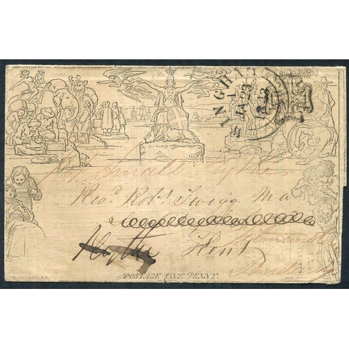 1812 - 1840 One Penny Letter Sheet, Forme 3, Stereo A64, cancelled contrary to regulations with a black MC ...