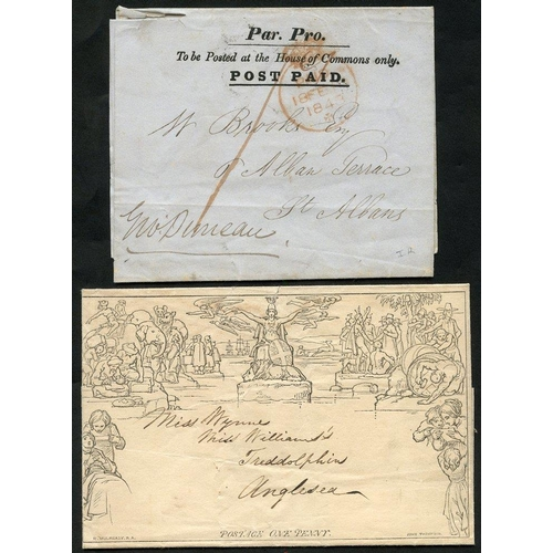 1814 - 1840 One Penny Letter Sheet A22, addressed to Treddolphin, Anglesea with no postal markings, Mulread...