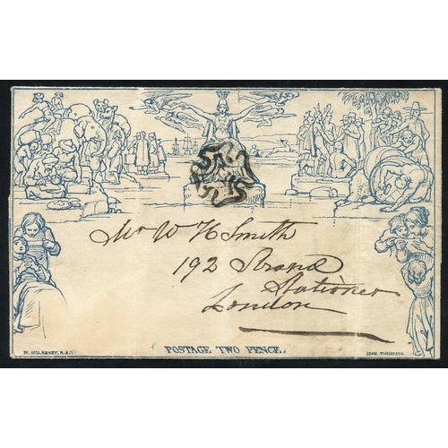 1816 - 1841 July 6th Twopence Letter Sheet from Warwick to London, cancelled with a black MC, letter writte...