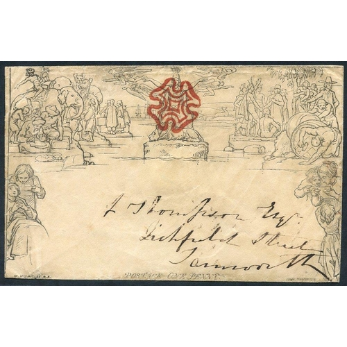 1818 - 1840 One Penny Envelope, Forme 1, Stereo A142, cancelled by a superb deep red MC, backstamped with a...