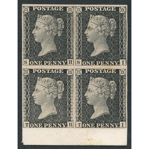 1825 - 1872 South Kensington Exhibition 1d black lower marginal block of four SH/TI. Rare. Spec.DP36. Cat. ...