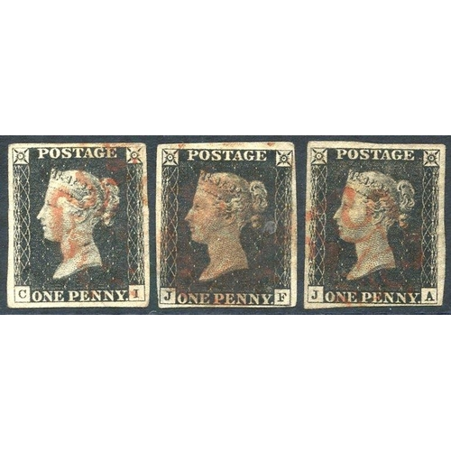 1827 - UNPLATED CI, JA & JF, four margin examples, cancelled in red, each with faults e.g. crease, thin, cl...