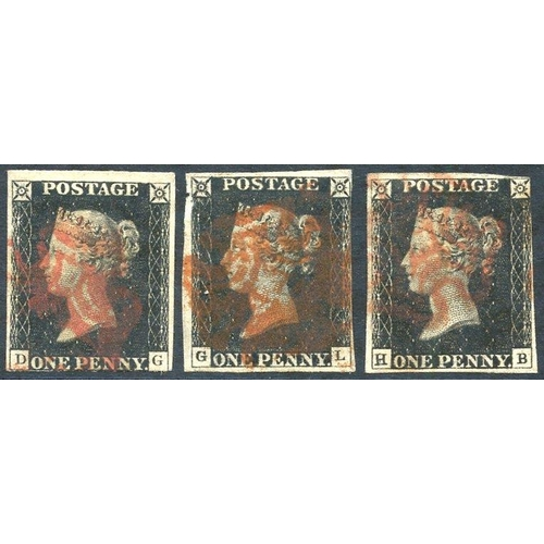 1828 - UNPLATED DG, GL & HB each with three margins (fourth is close cut or just touching), all are cancell...