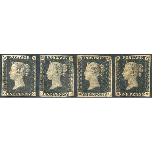 1830 - UNPLATED KK, MD & OC unused or cleaned examples with faults (OC - stuck to piece), also HG three mar...