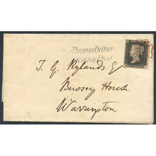 1831 - 1840 15th May Usage cover from Kingston franked Pl. 1a fine large margined example tied by a superb ...