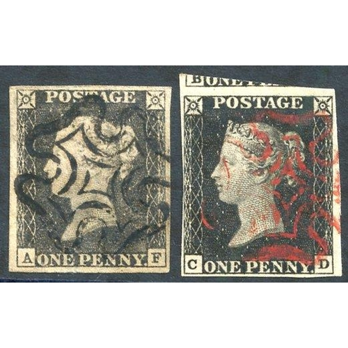 1834 - Plate 1a AF, good to large margins, black MC, small thin, CD - clear to huge margins, fine red MC, v...
