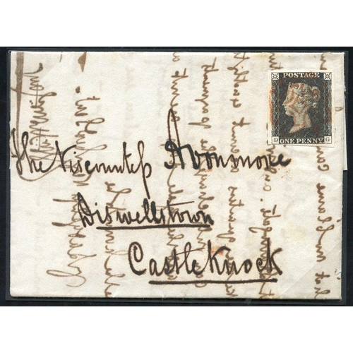 1866 - 1840 Aug 26th cover from Dublin to Castleknock, franked Pl.1b DG, large margined example, cancelled ...