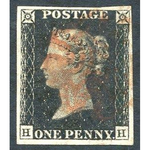 1878 - Plate 1b HH, four good margins, cancelled in red. (1)...