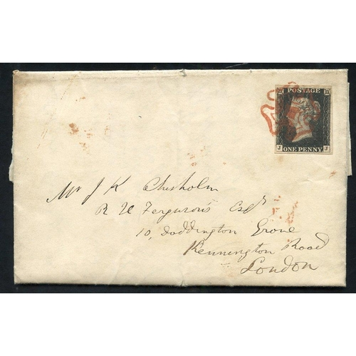 1885 - 1840 Dec 14th entire letter from Cupar Fife to London, franked Pl. 1b JJ large margined example, tie...