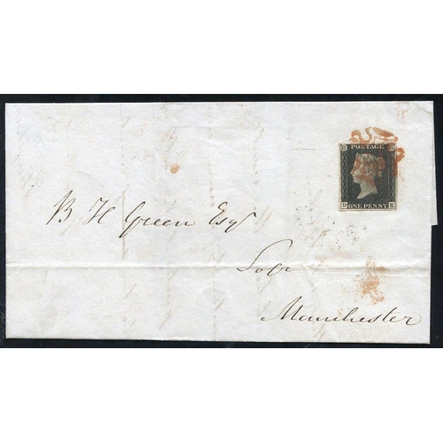 1888 - 1840 Nov 17th cover from Preston to Manchester franked Pl. 2 DK fine four margins tied red MC (1)...