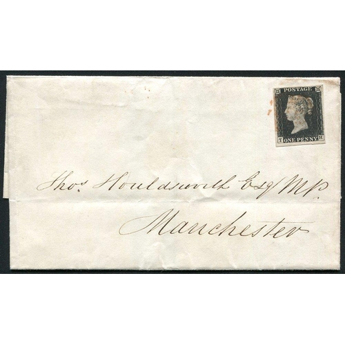 1890 - 1840 Dec 10th cover from Glasgow to Manchester, franked Pl.4 TH, good to huge margins, cancelled red...
