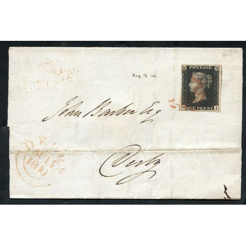 1892 - 1840 Aug 11th cover from London to Derby, franked Pl.5 MI, good to very large margins, tied by red M...