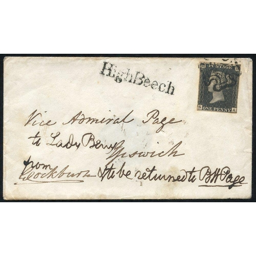 1895 - 1841 Feb 26th envelope addressed 1841 Feb 26th envelope from Vice Admiral Page to Lady Berry at Ipsw...