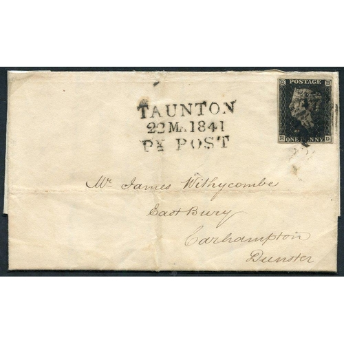1897 - 1841 March 22nd cover from Taunton to Dunster, franked Pl.8 HD, four margin example, tied black MC, ...