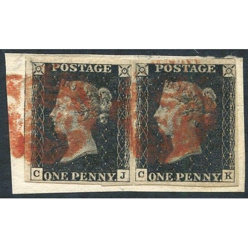1898 - Plate 9 CJ/CK (split pair), CK good to large margins, CJ large margins on three sides, cut into NE s...