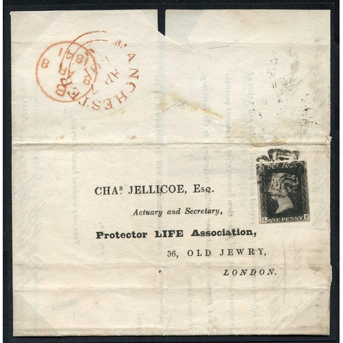 1899 - 1841 April 7th cover from Manchester to London, franked Pl.9 LF, almost four margins only just touch...