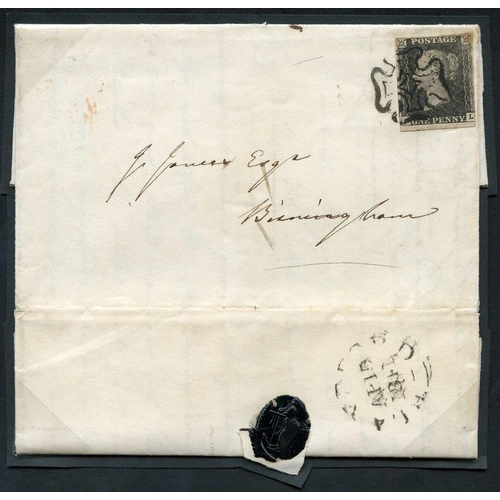 1902 - 1841 April 15th cover from Blandford to Birmingham, franked Pl.11 GL, good to large margins except j...