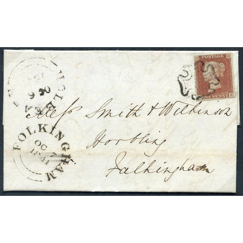 1903 - 1841 Oct 6th cover from Holbeach to Folkingham, franked Pl.1b ME, large margined example, tied fine ...