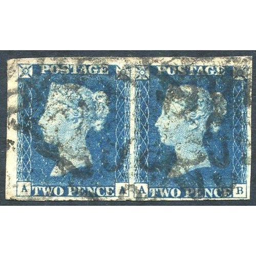 1906 - Plate 1 AA/AB, horizontal pair with good to huge margins with multiple strikes of the black MC. (2)...