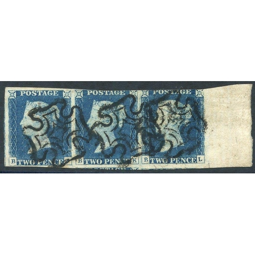 1909 - Plate 1 BJ-BL horizontal marginal STRIP OF THREE with mainly large margins except at top of the BK &...