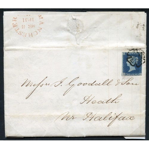 1912 - 1841 March 8th entire letter from Manchester to Heath Nr Halifax, franked 1840 2d Pl.1 EE, four marg...
