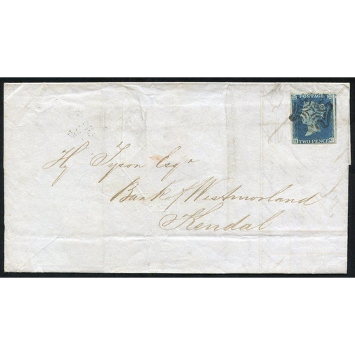 1923 - 1842 Aug 17th cover from Huddersfield to Kendal franked Pl. 2 HG, large marginal example except just...