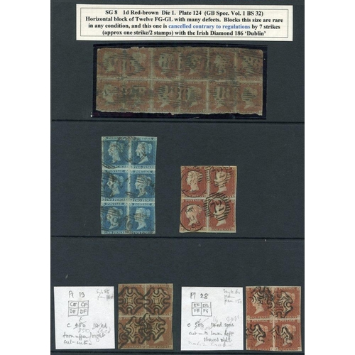 1927 - 1841 1d red BLOCKS OF FOUR - Pl.19 CE/DF, Pl.28 EF/FG, unplated BC/CD - all cut into with faults, FG...