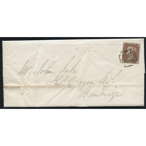 1930 - 1843 cover from Dublin (April 17th) to Banbridge, franked 1841 1d Plate 33 lett CA, fine four margin...