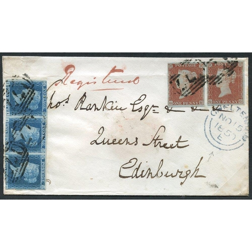 1934 - 1850 Nov 15th registered cover from Cheltenham to Edinburgh with 8d fee paid by strip of three 2d bl...