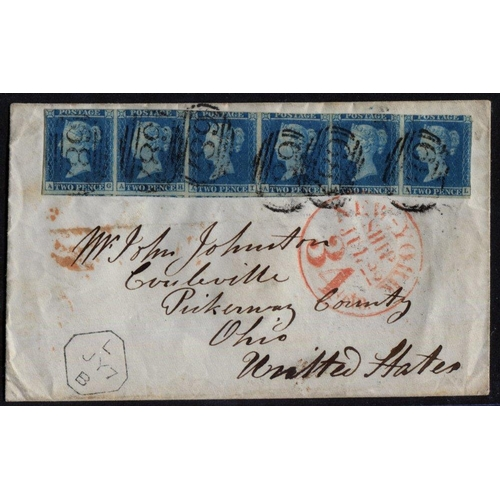 1935 - 1848 envelope from Sandbach to Ohio, USA, franked 1841 2d Pl.3 AG/AL strip of six, good to huge marg...