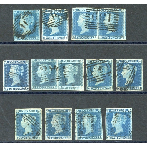 1938 - Plate 4 range of fine four margined examples DJ, EJ, pair EB/C (single cancel), GA, pair HK/L, KI, M...