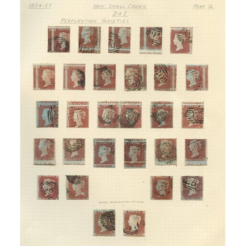 1941 - 1854-57 Wmk Small Crown Pl.16 Die I attempted reconstruction of 162 1d Stars, good to FU plus a page...