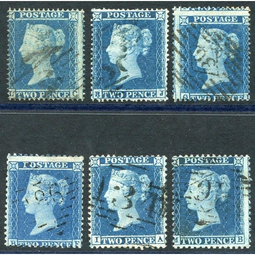 1942 - 1854-55 2d Stars group of six, good to FU examples, SG.20a & five in range of SG.19/20, 34/35. (6)...