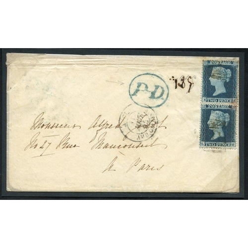 1943 - 1855 envelope from Margate to Paris, franked pair of 2d Small Crown P.16 Pl.4 (SG.19), some staining...