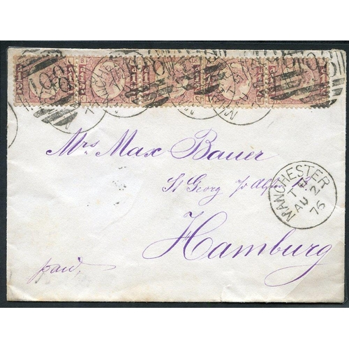 1944 - 1876 Aug 2nd envelope from Manchester to Hamburg (addressed in purple), franked by ½d Bantam Plate 6...
