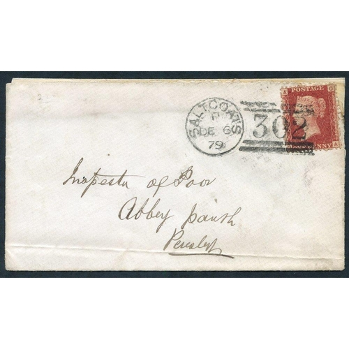 1947 - 1879 Dec 6th cover, franked 1d Pl.225, tied Saltcoats duplex, cover has been repaired at top, plus b...