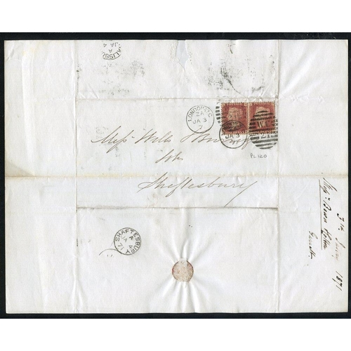1948 - 1869-74 Correspondence between London & Shaftesbury bearing a variety of 1d red Plates (some covers ...