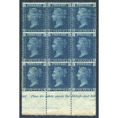 1950 - 1858-76 2d blue Pl.15 lower marginal M block of nine (6x UM) lett RD/TF showing marginal inscription...