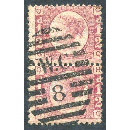 1952 - 1870 ½d rose red Plate 9 vertical pair, FU with London W.C/8 barred oval cancel, SG.48. (2)...