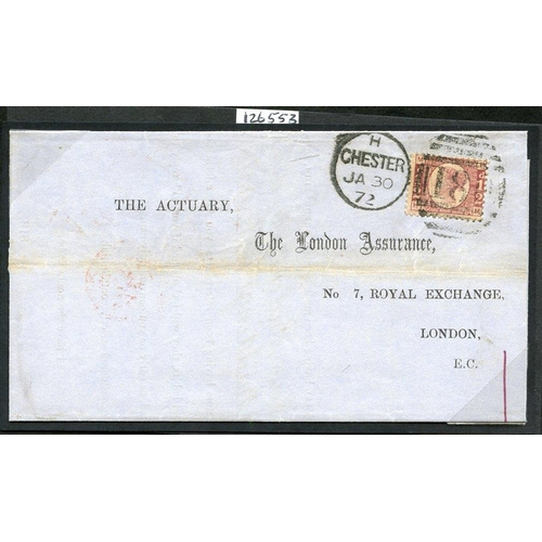 1953 - 1872 Jan 30th cover from Chester to London, franked ½d Bantam Plate 9 (SG.48), tied Chester duplex, ...